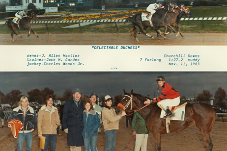 Ponca's racing days: A  Ponca-bred Delectable Duchess crosses  the finish line at Churchill Downs.